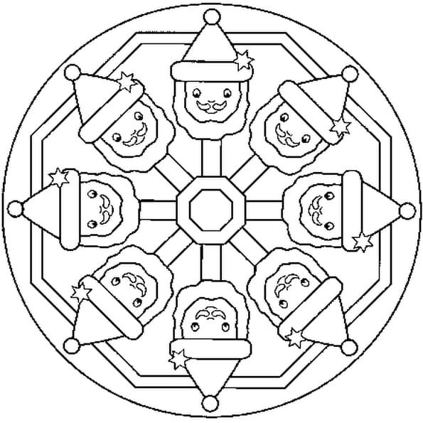 Dessin Mandala Noêl a colorier