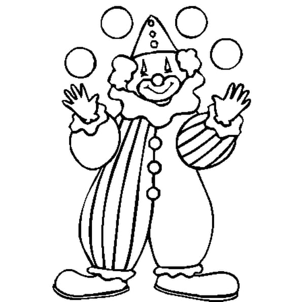 Coloriage Clown Hiver.Dessin Simple Clown