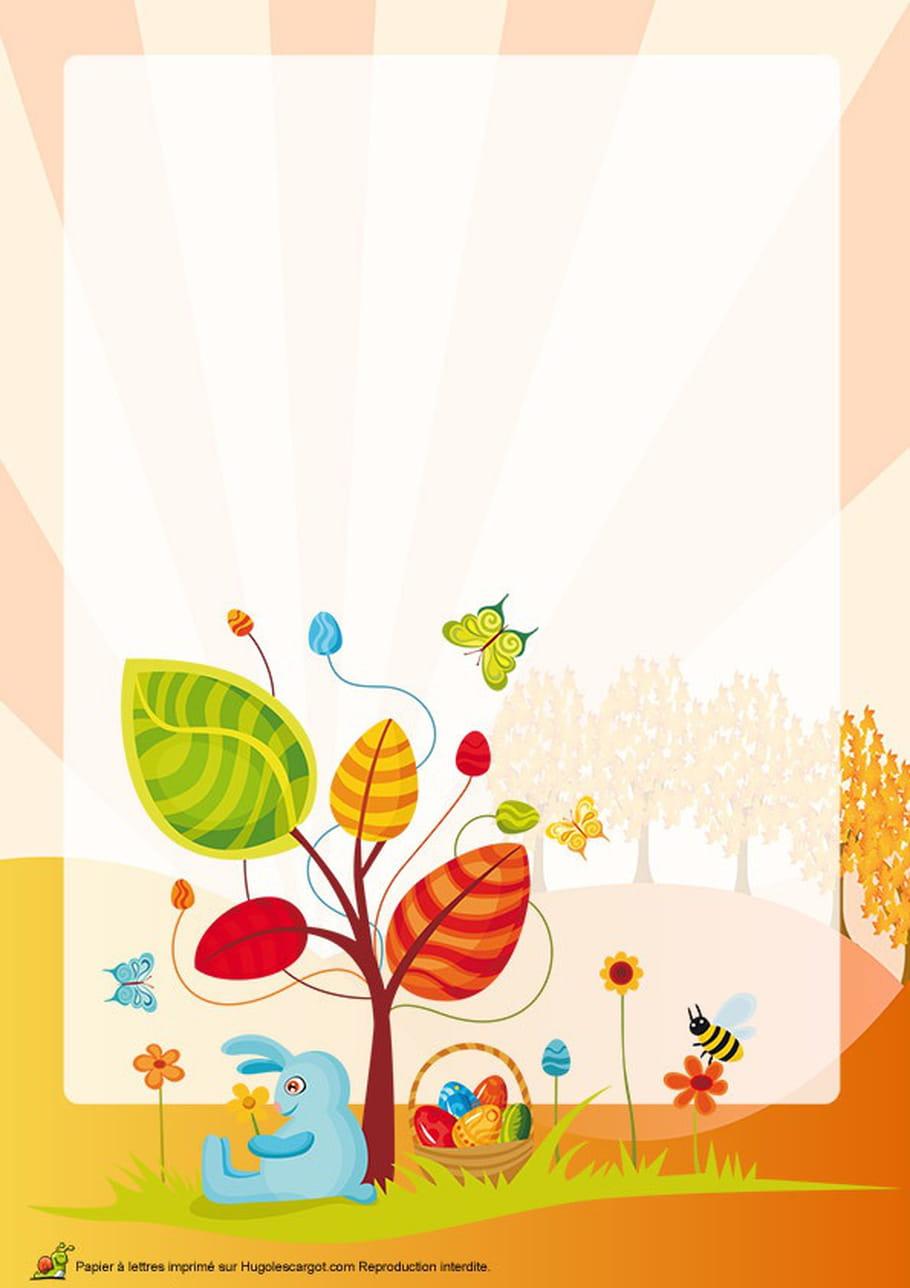 Carte lapin de Pâques campagnard