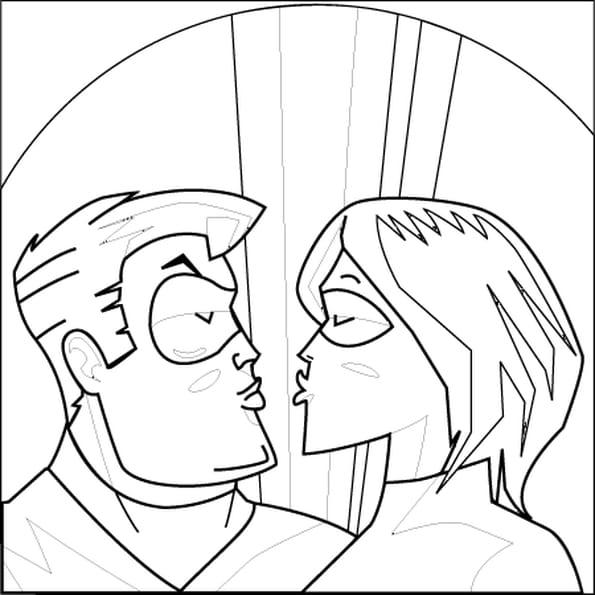 Dessin Super-Héros Amoureux a colorier