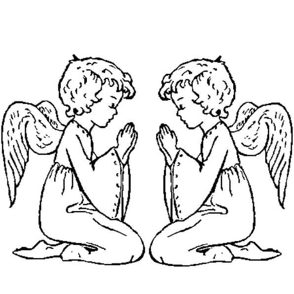 Coloriage Anges en prière