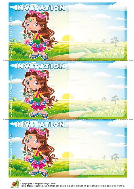 Carte invitation anniversaire petite fille hippie