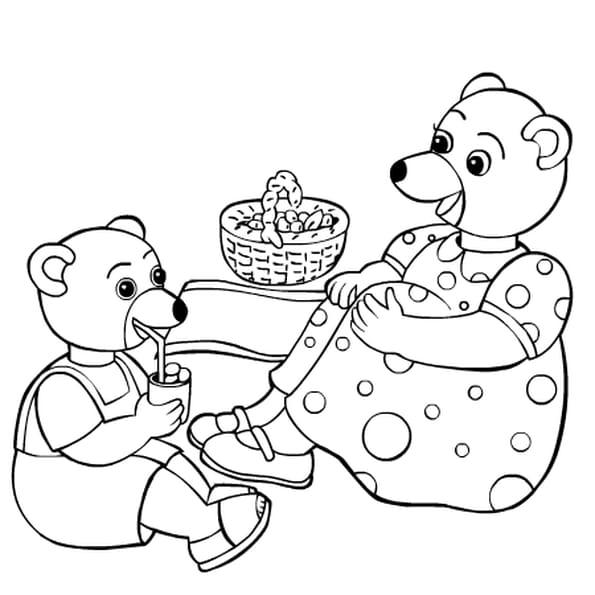 Dessin petit ours brun a colorier