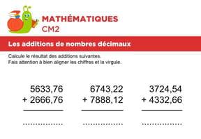 Additions de nombres décimaux niveau 1, exercice 4