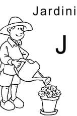 Coloriage lettre J comme jardinier