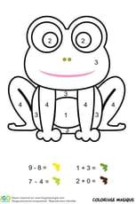 Coloriage magique CP: une grenouille verte