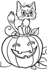 Coloriage Chat sur une citrouille d'Halloween