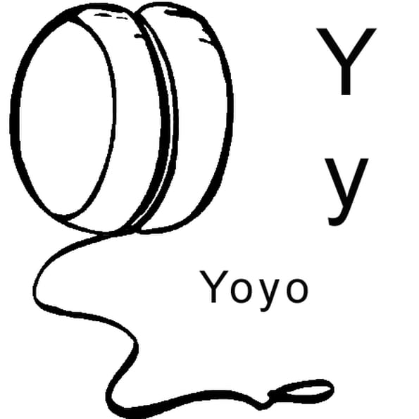 Dessin lettre y comme yoyo a colorier