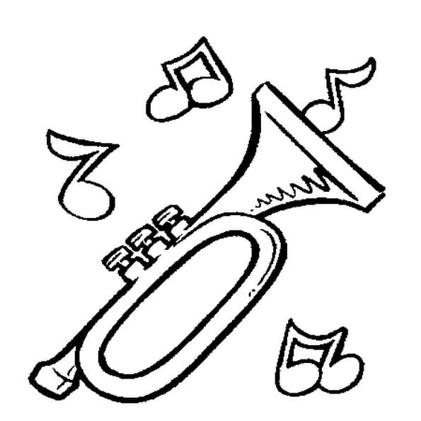 Dessin trompette a colorier