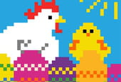 Poule et poussin de Pâques pixel art
