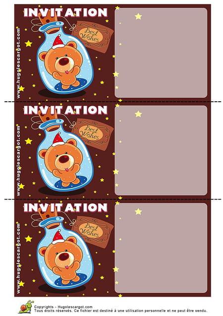 Carte invitation anniversaire petit ours dans une bouteille