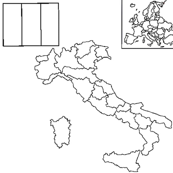 Coloriage carte Italie en Ligne Gratuit à imprimer