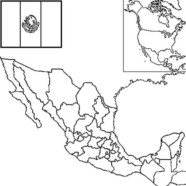 Coloriage carte Mexique en Ligne Gratuit à imprimer