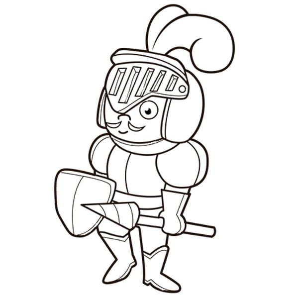 Dessin Le fier chevalier en armure a colorier