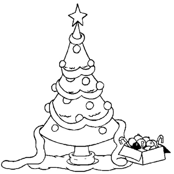 Coloriage sapin de no l d co en ligne gratuit imprimer for Decoration de noel dessin