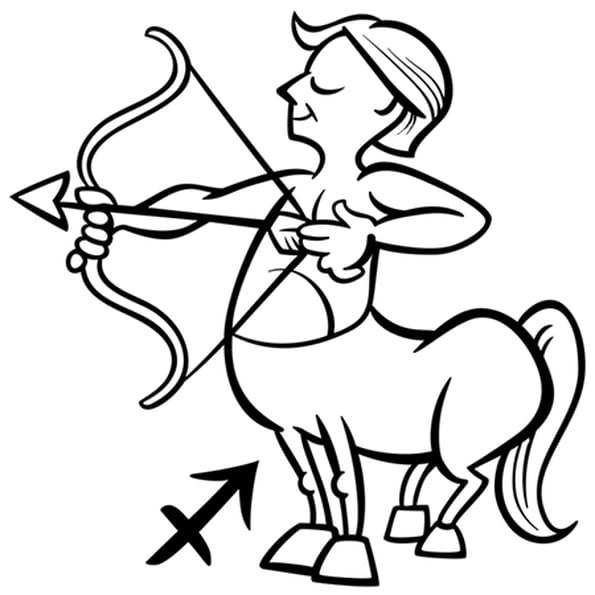 Coloriage Signe du Zodiaque le Sagittaire en Ligne Gratuit à imprimer
