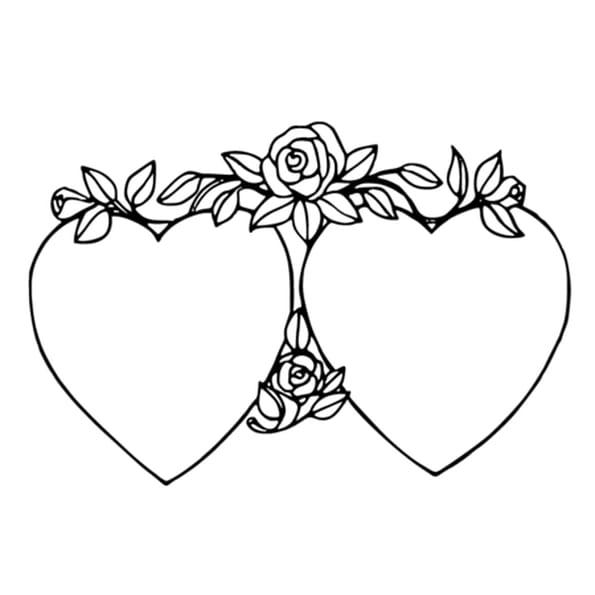 Coloriage Deux coeurs et Roses en Ligne Gratuit à imprimer