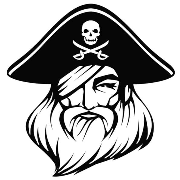 Coloriage Tête du pirate Barbe Rouge en Ligne Gratuit à imprimer
