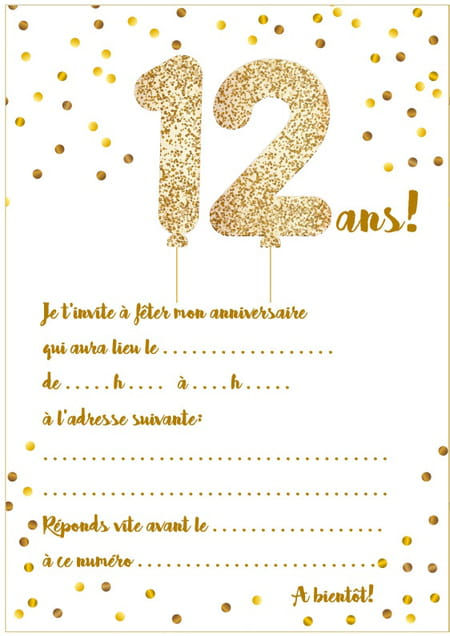 carte d invitation anniversaire pour fille de 12 ans the. Black Bedroom Furniture Sets. Home Design Ideas
