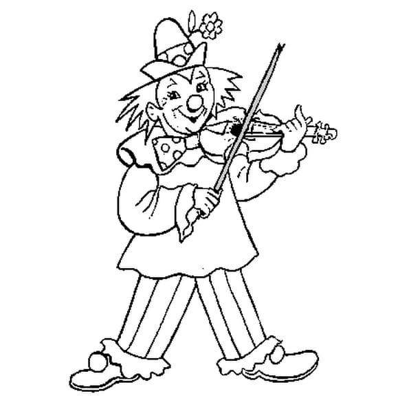 Dessin Clown Musicien a colorier