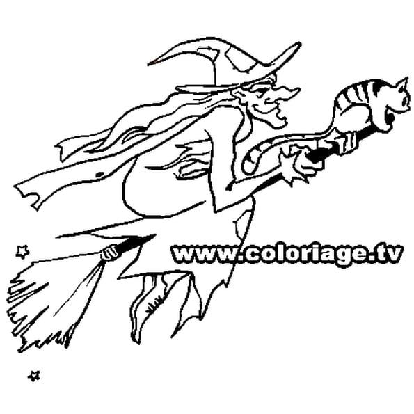 Dessin Halloween sorciere a colorier