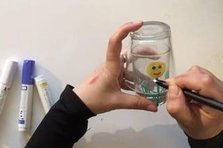 Etape 2: tracer des cercles sur le grand verre