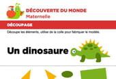 Découpage et collage d'un dinosaure