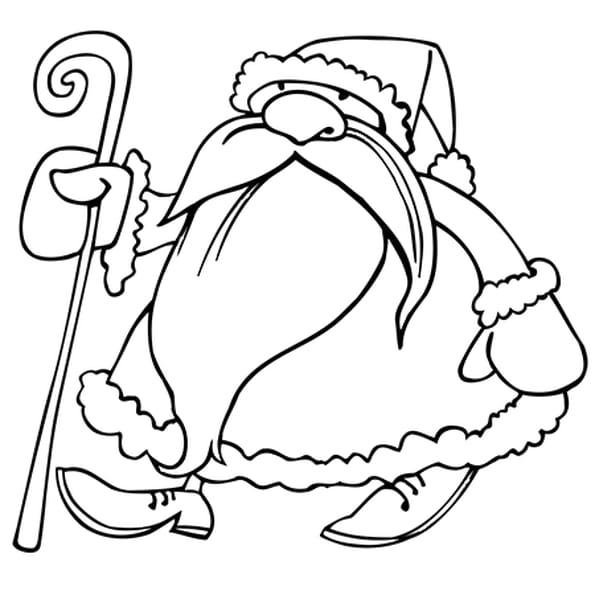 Dessin Saint-Nicolas et son bâton a colorier
