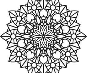Mandala fleur et coeur