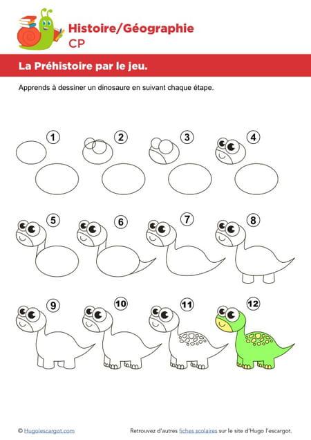 La pr histoire par le jeu apprendre dessiner un dinosaure - Dessiner dinosaure ...