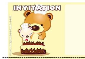 Carte invitation anniversaire oursons et gâteau au chocolat