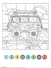 Coloriage magique CE1: un camping-car rétro et vintage