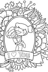 Coloriage Carte de fête des mères en Ligne Gratuit à imprimer