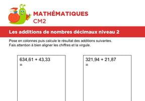 Additions de nombres décimaux niveau 2, exercice 2
