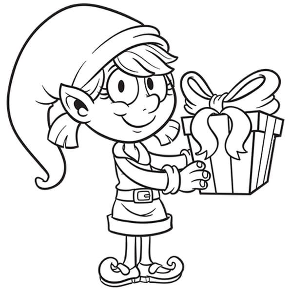 Dessin Mademoiselle Lutin avec son cadeau a colorier