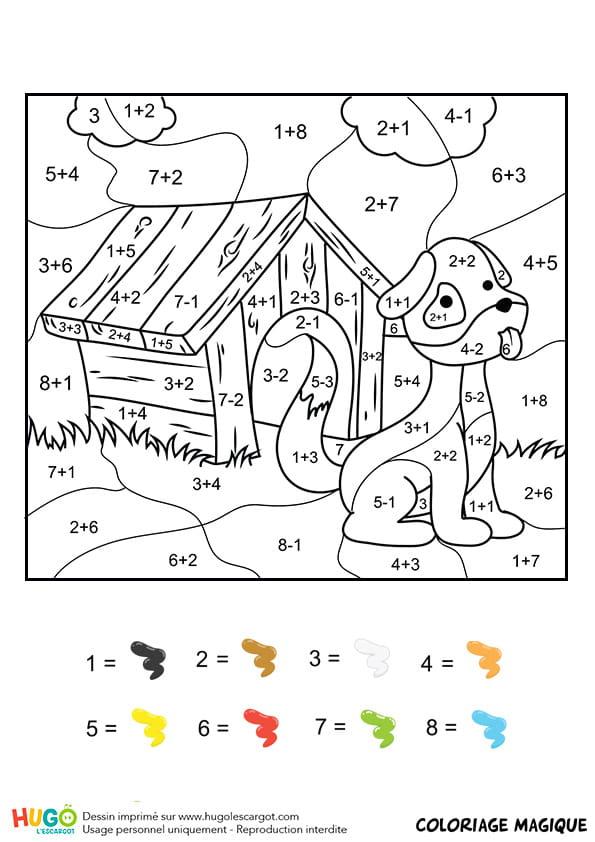 Coloriage magique ce1 une niche et un chien - Coloriages magiques ce1 ...