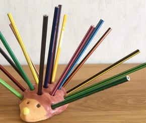 Hérisson porte-crayon en pâte à sel