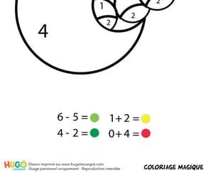 Coloriage magique CP: un ver dans une pomme