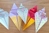 Une glace en origami, pliage papier [VIDEO]