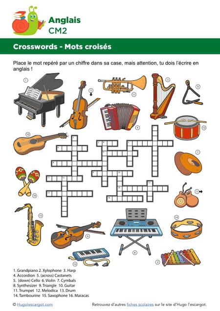 Extrêmement Mots croisés en Anglais sur le thème des instruments de musique XQ71