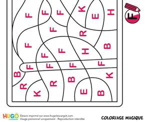 Coloriage magique CP, un drapeau