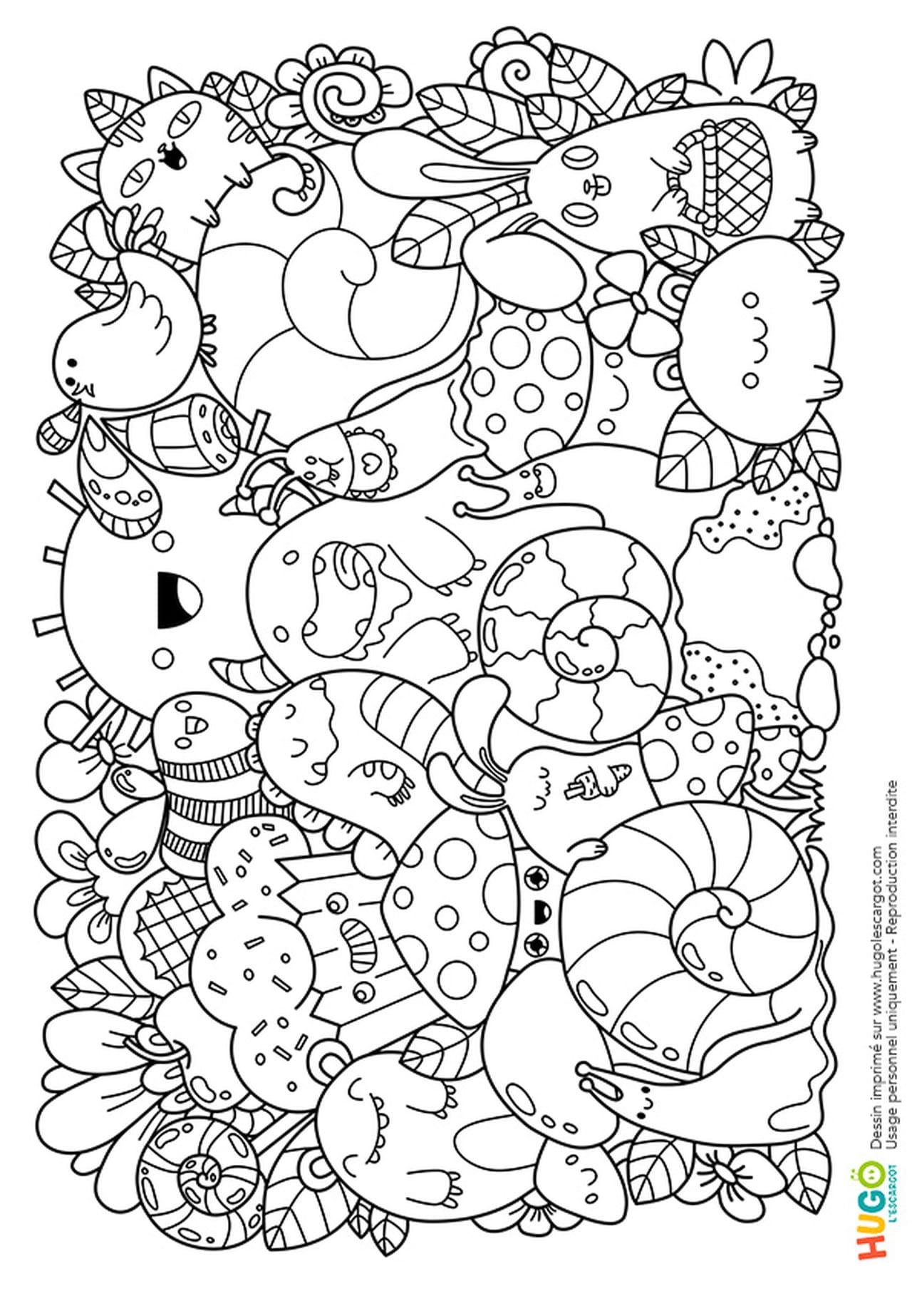 Coloriage Animaux Kawaii.Coloriage Personnages Et Animaux Kawaii En Ligne Gratuit A