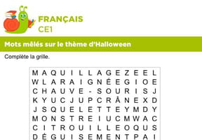 Vocabulaire, mots mêlés sur le thème d'Halloween