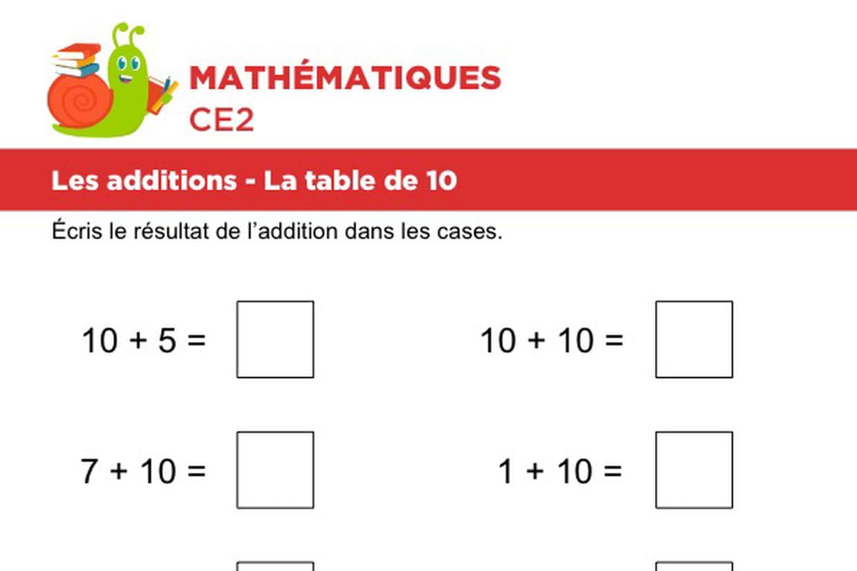 Les Additions La Table De 10