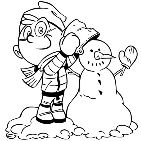 Coloriage Petit bonhomme de neige en Ligne Gratuit à imprimer