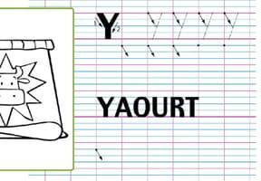 Lettre alphabet Y, apprendre à écrire