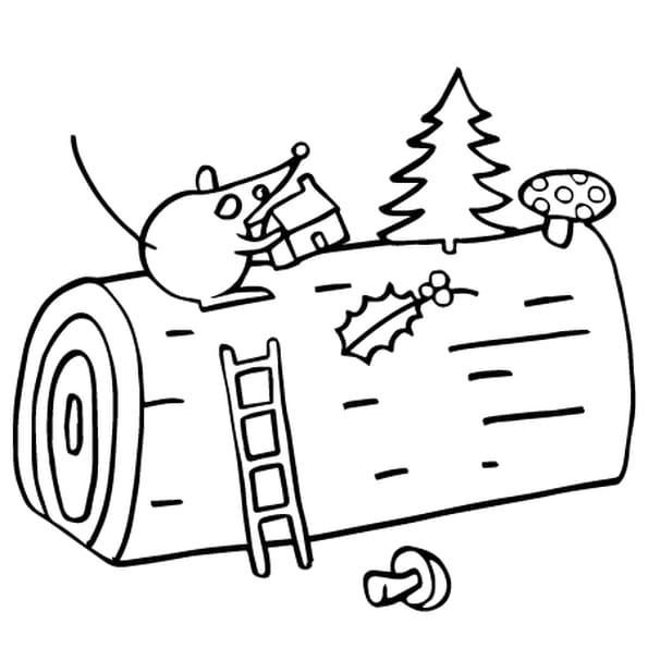 Dessin La Buche de Noël a colorier