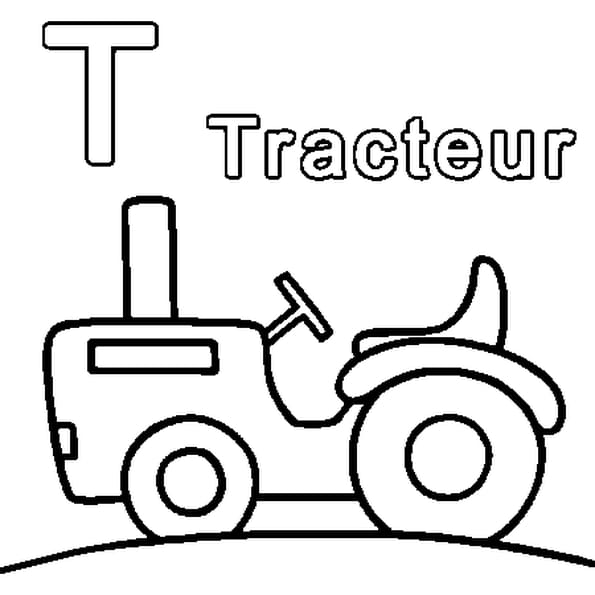 Coloriage T comme Tracteur en Ligne Gratuit à imprimer