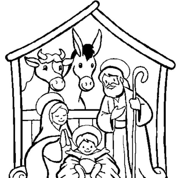 Coloriage crèche de Noël en Ligne Gratuit à imprimer