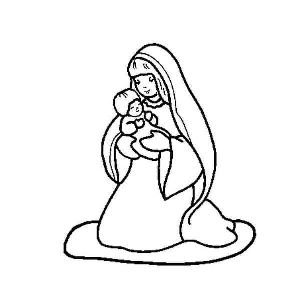 Dessin Marie et Jésus a colorier